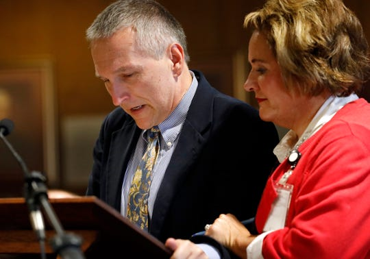 Jim Letourneau, left, speaks during the sentencing hearing of his borther John Peter Letourneau's murderer Reaqwan Jahmell Hancock Thursday, Sept. 26, 2019, in Fairfield County Common Pleas Court. Fairfield County Prosecutor's Office victim assistance specialist Misty Richardson is at right.