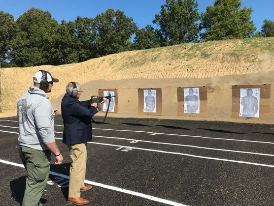 Mansfield Mayor Tim Theaker tried out the new Mansfield Police Department shooting range Thursday  where officers were completing certification with police patrol rifles.