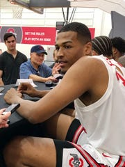 Ohio State's Kaleb Wesson answers questions during media day for the men's basketball team on Wednesday.