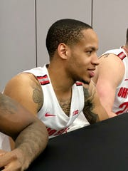 Redshirt junior guard C.J. Walker listens to a question during the Ohio State men's basketball team's media day on Wednesday at the Schottenstein Center.