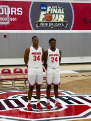 Ohio State men's basketball team members Kaleb Wesson, left, and older brotehr Andre Wesson pose for a photo during media day Wednesday in the Schottenstein Center's practice gym.