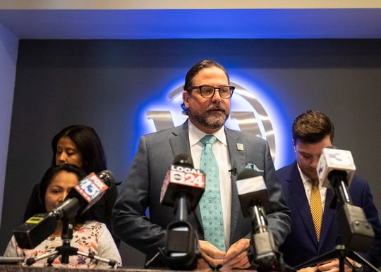 Attorney Murray B. Wells speaks at a press conference about a civil lawsuit over the shooting of Ismael Lopez in Southaven, Thursday, Sept. 26, 2019.