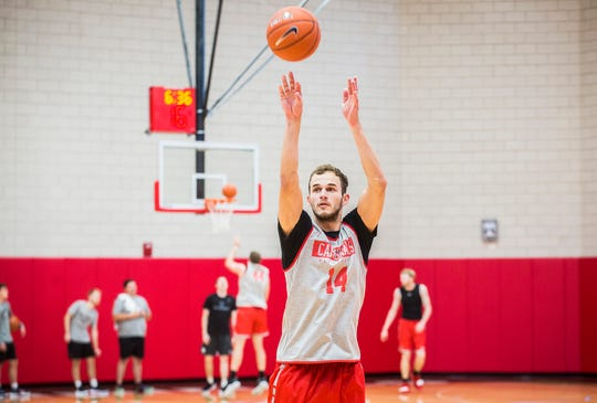 Ball State's Kyle Mallers during practice at the Dr. Don Shondell Practice Center.