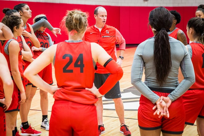 Ball State women's basketball players practice at the Dr. Don Shondell Practice Center.