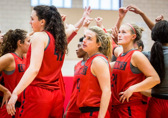 Ball State women's basketball players during practice at the Dr. Don Shondell Practice Center.