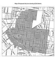 The shaded area of this map shows the areas expected to be part of the City Core Overlay District proposed by the city of Murfreesboro.