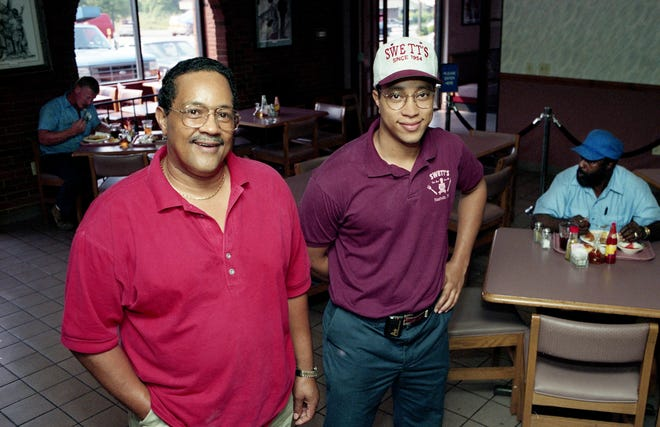 David Swett Sr., left, and David Swett Jr. pose in the three-generation family-run Swett's Restaurant at the corner of Clifton and 28th Avenue on Sept. 14, 1994. This month the restaurant is celebrating its 40th anniversary.