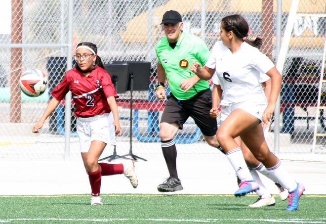 Lady 'Cat eighth grader Gabi Chavez (2) usually finds herself in front of the defense on the attack.