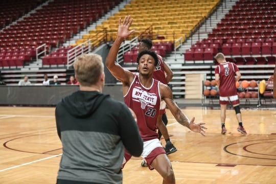 Dajour Joseph runs drills at NMSU men's basketball first practice of the season at the Pan American Center in Las Cruces on Thursday, Sept. 26, 2019.