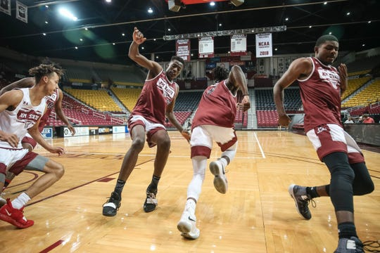 NMSU men's basketball team practice at the Pan American Center in Las Cruces on Thursday, Sept. 26, 2019.