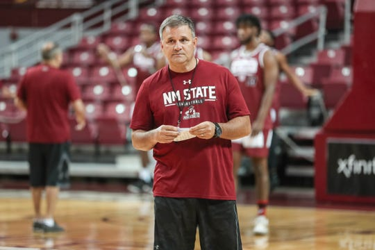 Head coach Chris Jans runs drills at NMSU men's basketball first practice of the season at the Pan American Center in Las Cruces on Thursday, Sept. 26, 2019.
