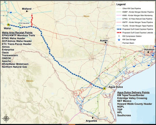 The blue line represents the path of the mainline of Kinder Morgan's Gulf Coast Express Pipeline.