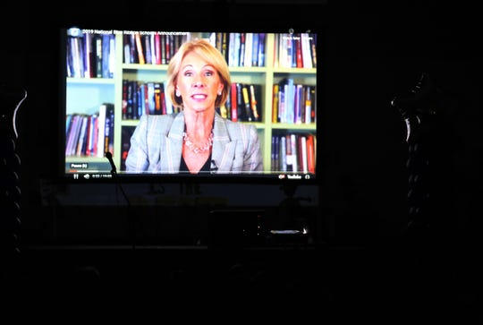 A screen displays a message from U.S. Secretary of Education Betsy DeVos, Thursday, Sept. 26, 2019, at Ladera Del Norte Elementary School.