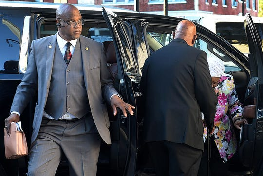 Former Opelousas Mayor Reggie Tatum,arrives Thursday morning at the St. Landry Parish Courthouse, where his felony trial began with testimony from former and current aldermen and city employees.