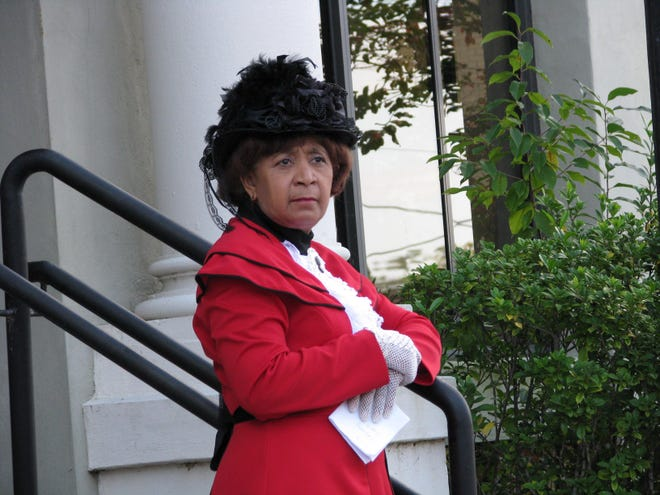Etha Simien Amling portrays her ancestor Marie Magdalena Esprit/Lemelle Simien at a recent event in downtown Opelousas.