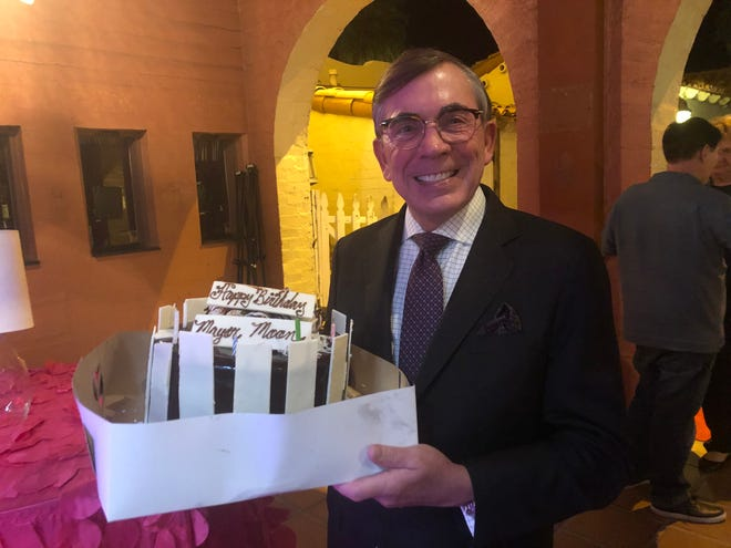 Palm Springs Mayor Robert Moon received a birthday cake at the end of his State of the City address on Sept. 25, 2019, at the Plaza Theatre.