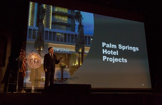 Palm Springs Mayor Rob Moon delivers the State of the City Address at the Plaza Theater in downtown Palm Springs on September 25, 2019.
