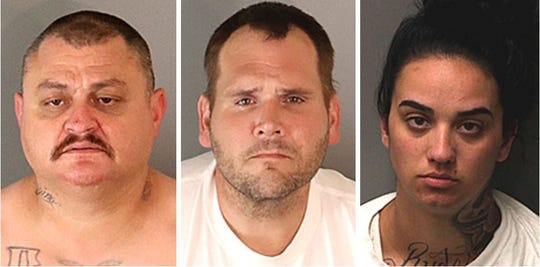 Charged with murder are, from left, Roberto Ramon Camacho, 43, Tyrone David Jones, 37, and Melissa Elyse Unger, 23.