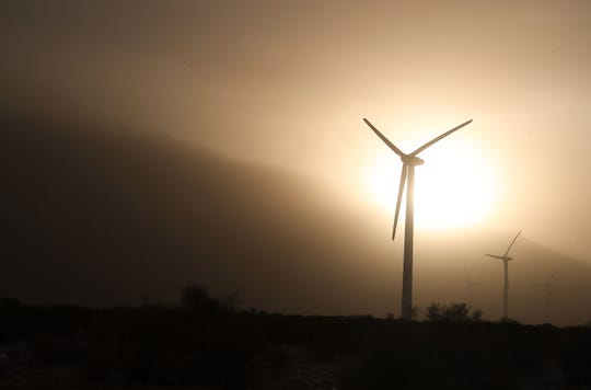 A dust storm spread across parts of the Coachella Valley Wednesday evening, including near Whitewater and the windmills just northwest of Palm Springs.