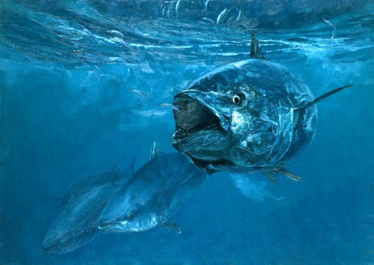 A dramatic scene of a giant bluefin tuna, only visible through the illustrator's brush.