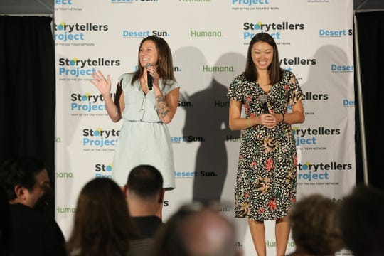 Desert Sun features editor Kristin Scharkey, left, and Desert Sun video editor Vickie Connor emcee the Coachella Valley Storytellers Project at The Desert Sun in Palm Springs, Calif., on Wednesday, September 25, 2019.