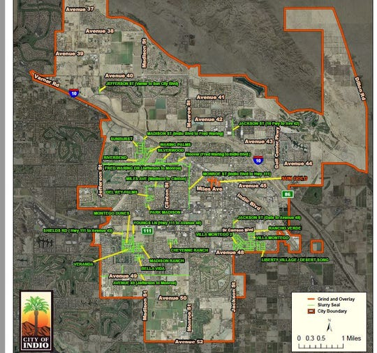 This map shows streets that will undergo repairs in Indio by the end of December.