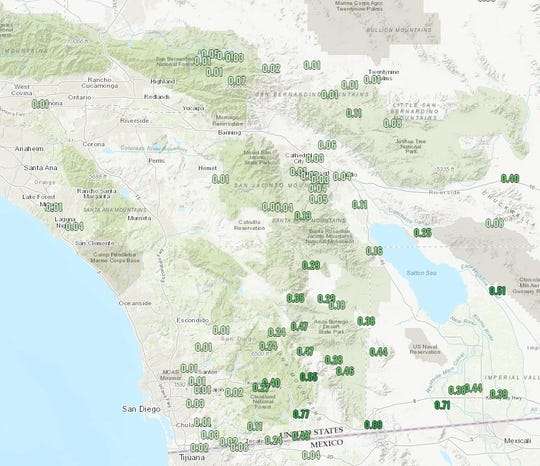 Wednesday's rainfall totals across Southern California.