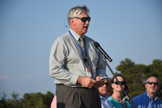 Santa Rosa County Superintendent Tim Wyrosdick speaks at the groundbreaking for a new K-8 school off Elkhart Drive in Navarre.