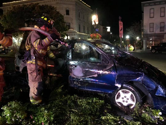 One person was taken to the hospital after a fiery car crash in the square in Gettysburg.