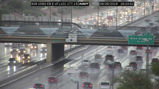 An ADOT freeway camera on the U.S. 60 freeway east of Loop 101 near the Tempe-Mesa border shows rainy conditions just after 4:30 p.m. Thursday.