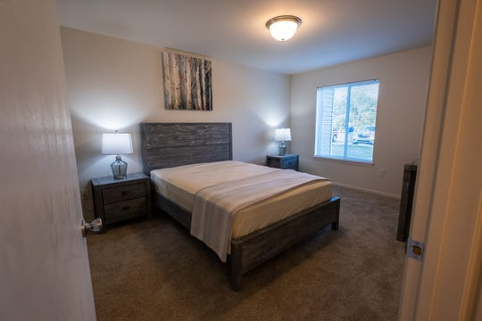 A bedroom in a model apartment at Dutton Estates in St. Clair. Construction on the complex is wrapping up, and it is expected to be completely open in the next week.