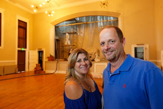 Gina and Jim Sullivan inside the former Masonic Temple on Cannon Street in the City of Poughkeepsie on September 26, 2019.