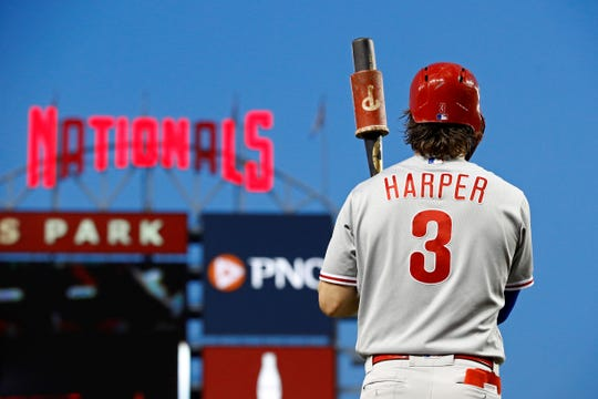 Philadelphia's Bryce Harper prepares for an at-bat during a baseball game against the Washington Nationals on Wednesday. Harper and his wife aren't happy about some of the remarks directed toward the Harper family.