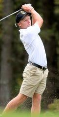 Central York's Carson Bacha hits during the York-Adams Individual Golf Championships at Briarwood Golf Club Thursday, Sept. 26, 2019. Bill Kalina photo