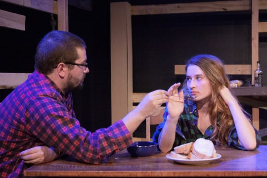 """Kirk Wisler and Catie Dinneen rehearse a scene in DreamWrights' """"Brilliant Traces."""""""