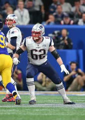 New England Patriots guard Joe Thuney (62) against the Los Angeles Rams in Super Bowl LIII.