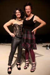 Rhansen Mars, left, starring as Dr. Frank-N-Furter, and Stu Rasmussen, former mayor of Silverton and the country's first openly transgender mayor, meet during a rehearsal for The Rocky Horror Show at Salem's Historic Grand Theatre on Sep. 25, 2019. The show runs Oct. 11 - Nov. 3.