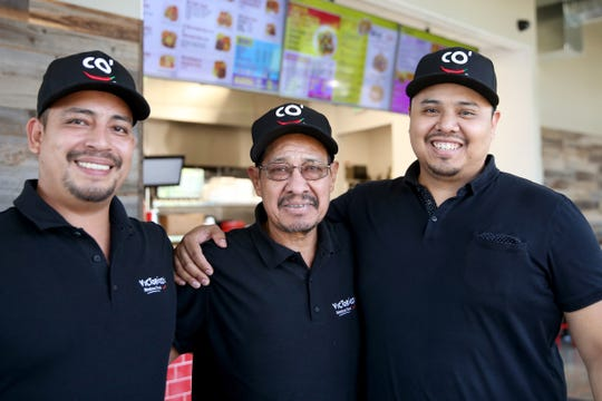 Ivan Orozco, from left, a co-owner, Victor Sanchez Sr., the company president, and Victor Sanchez Jr., a co-owner, at Victorico's Mexican Food in Salem on Sep. 25, 2019.