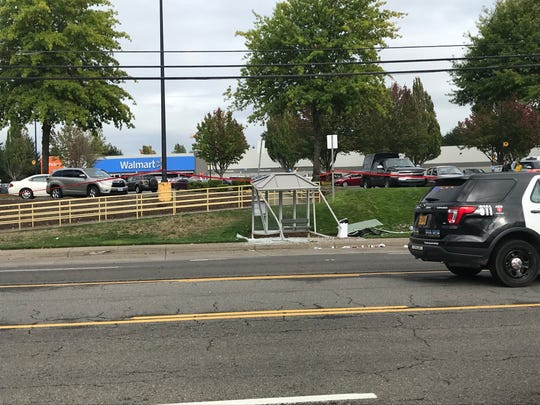 Two people were taken to the hospital following a single-vehicle collision that closed a section ofCommercial Street SE for more than an hour Thursday, Sept. 26, 2019. Police say the driver hit a bus shelter and a tree before coming to a stop.