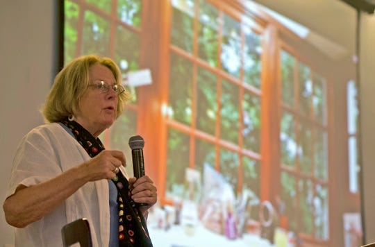 Rosemary Wells speaks to an audience at Stephens Central Library about the importance of reading to young children Tuesday, Sept. 24, 2019.