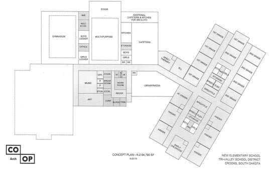 A plan for the K-2 portion of the proposed elementary school.