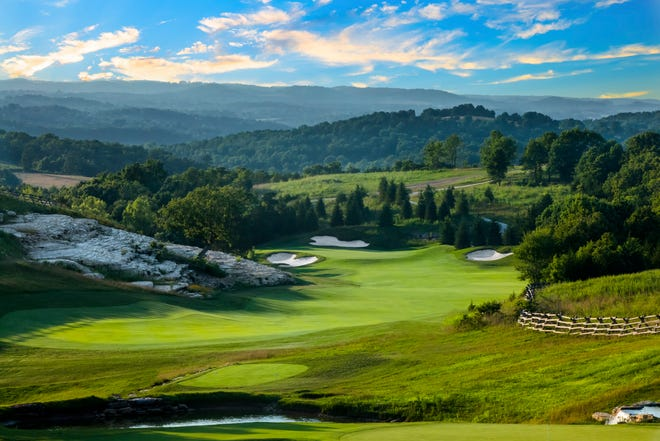 An undated publicity photo shows the second hole at Big Cedar Lodge's Buffalo Ridge golf course. The Big Cedar property was named No. 1 for families among 100 North American golf resorts ranked by GOLF magazine on Sept. 26, 2019.