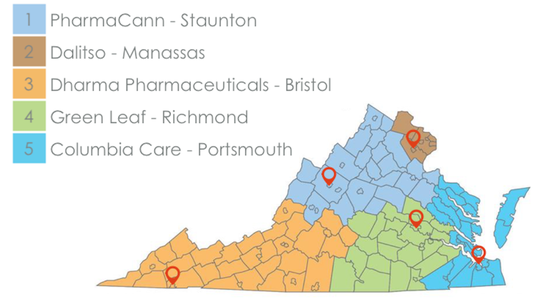 Map of the five medical cannabis dispensaries opening in Virginia.