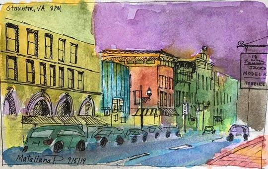 West Beverly Street nocturne sketch from Sept. 5, 2019. Art by Penelope Matallana.
