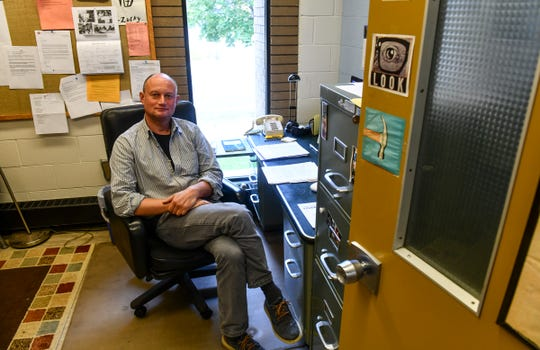 Associate professor of theater and film studies Vladimir Rovinsky is pictured in his office Thursday, Sept. 26, 2019, at the Performing Arts Center at St. Cloud State University.