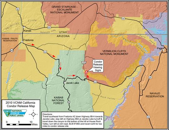 Map to California condor release.