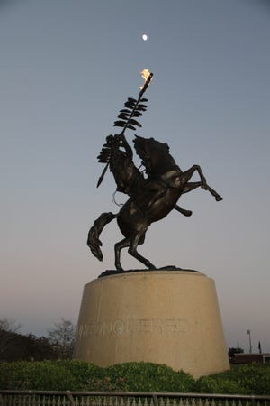 The Unconquered Statue in front of Doak Campbell Stadium.