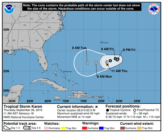 Tropical Storm Karen, 11 a.m., Sept. 26, 2019.