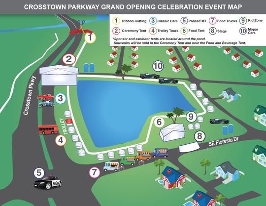Layout for the Crosstown Parkway Bridge opening