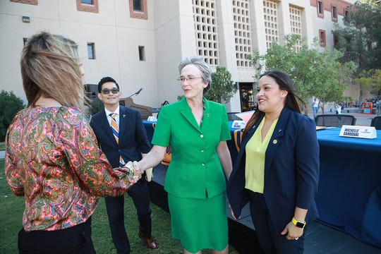UTEP President Heather Wilson and College of Education Dean Clifton Tanabe greet Perla Lozoya, left, and Michelle Sandoval, right, the Region 19 Teacher of the Year winners for 2020. Both Lozoya and Sandoval are finalists for Texas Teacher of the Year.